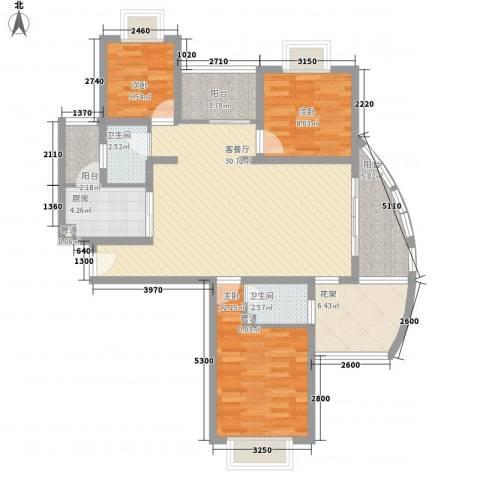 大学康城美域3室1厅2卫1厨122.00㎡户型图