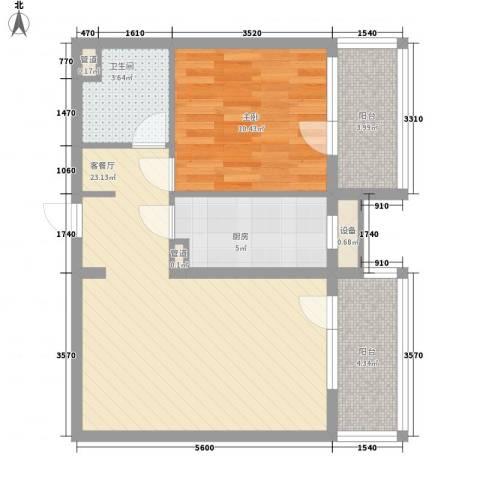 东方太阳城明湖园1室1厅1卫1厨75.00㎡户型图