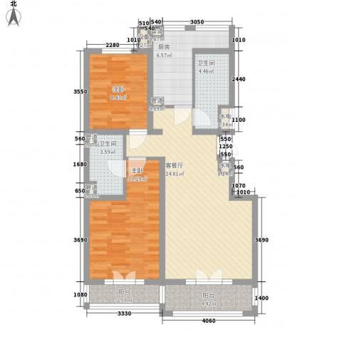 东方太阳城明湖园2室1厅2卫1厨101.00㎡户型图