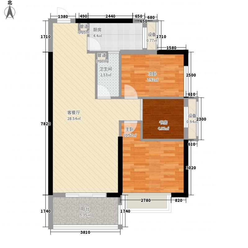 天泽江鼎户型图46#06单元3房2厅1卫1厨95㎡ 3室2厅1卫1厨