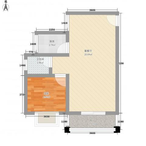 公园壹号1室1厅1卫1厨56.00㎡户型图
