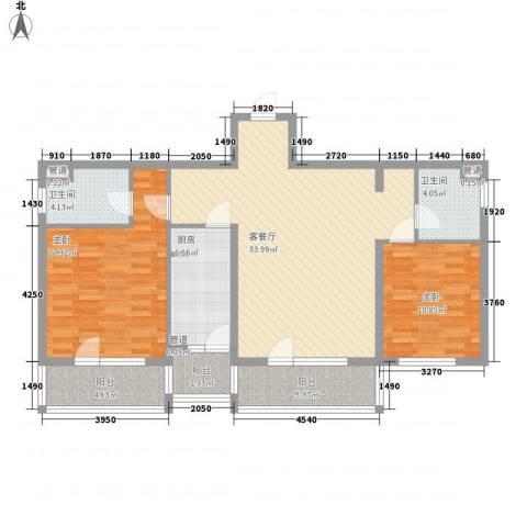 东方太阳城明湖园2室1厅2卫1厨128.00㎡户型图