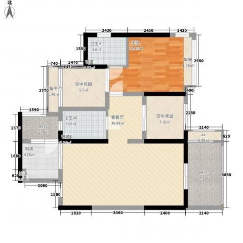 怡翠宏�1室1厅2卫1厨92.00㎡户型图