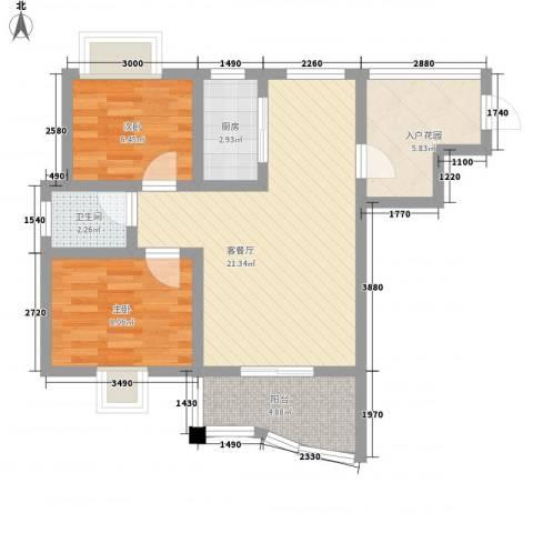 公园壹号2室1厅1卫1厨67.00㎡户型图
