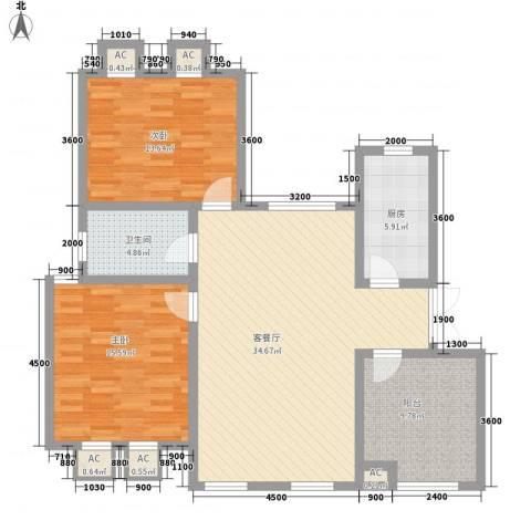 泉山森林海2室1厅1卫1厨86.68㎡户型图