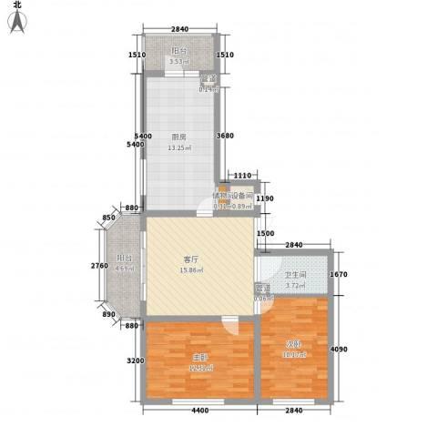 林海华庭2室1厅1卫1厨75.00㎡户型图