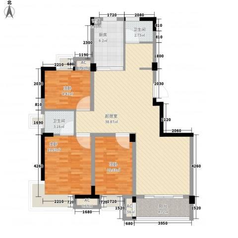 翰园小区3室0厅2卫1厨129.00㎡户型图