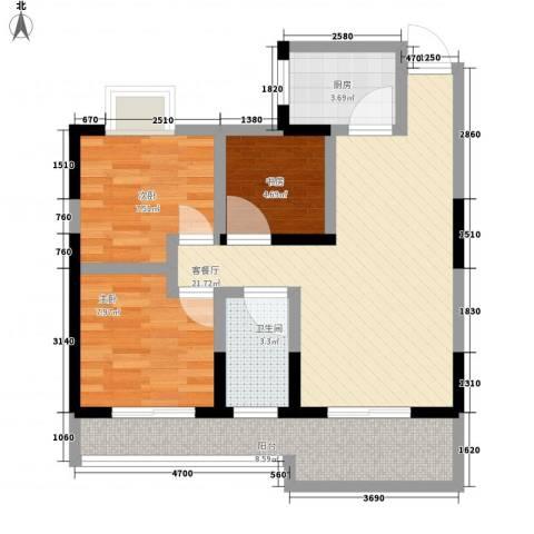 东方丽都3室1厅1卫1厨57.47㎡户型图