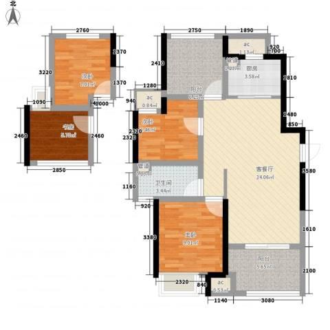 新城香溢俊园4室1厅1卫1厨110.00㎡户型图