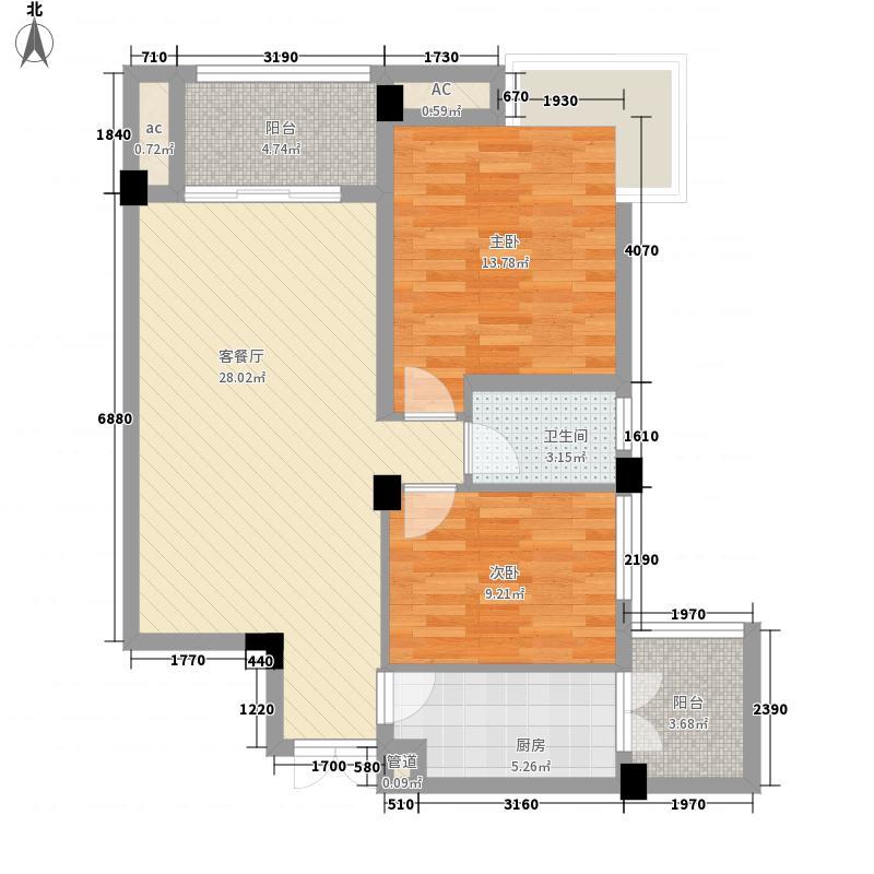 安厦琥珀漓江84.22㎡7D2-7层户型2室2厅1卫1厨