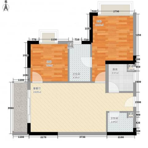 新蓝湾2室1厅2卫1厨84.00㎡户型图