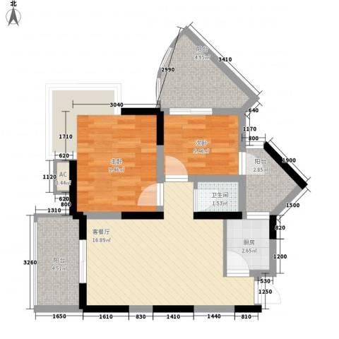 东方丽都2室1厅1卫1厨73.00㎡户型图