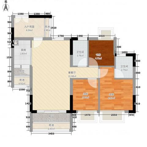 东海国际花园3室1厅2卫1厨89.00㎡户型图