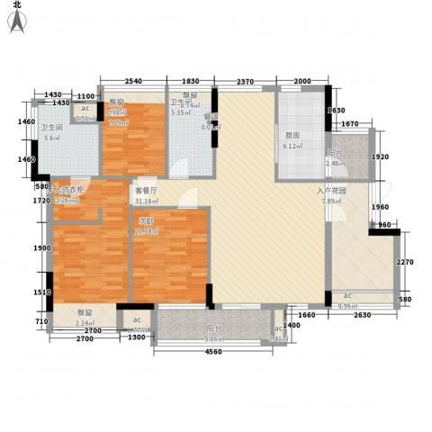 丰泰旗山绿洲3室1厅2卫1厨125.00㎡户型图