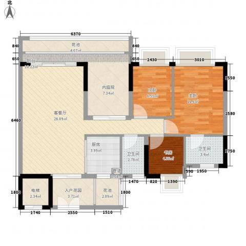 东海国际花园3室1厅2卫1厨119.00㎡户型图