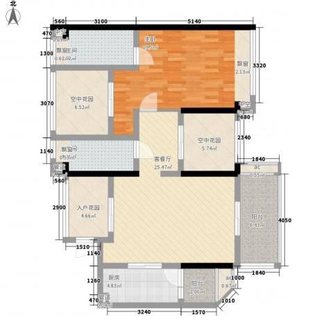 怡翠宏�1室1厅2卫1厨91.00㎡户型图
