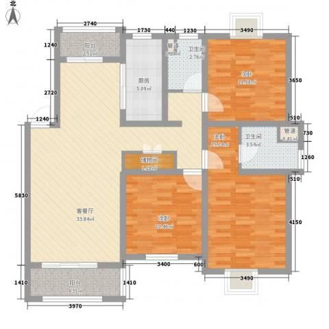 上海一家人3室1厅2卫1厨132.00㎡户型图