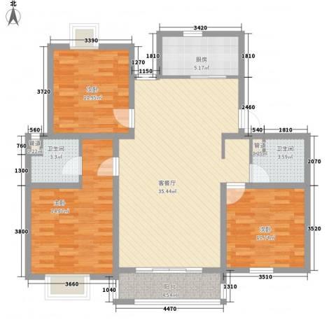 上海一家人3室1厅2卫1厨128.00㎡户型图