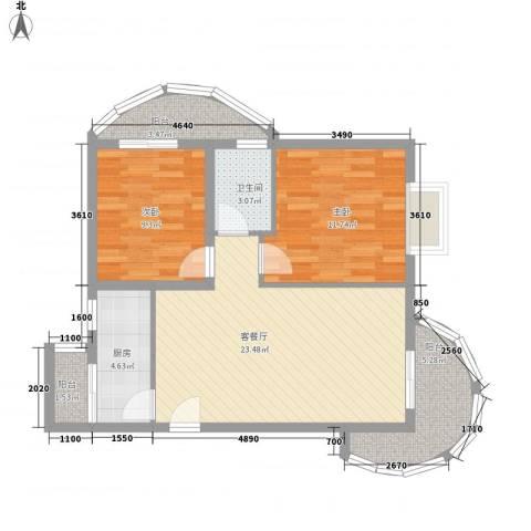 傲景观澜九龙湾国际温泉花园2室1厅1卫1厨84.00㎡户型图