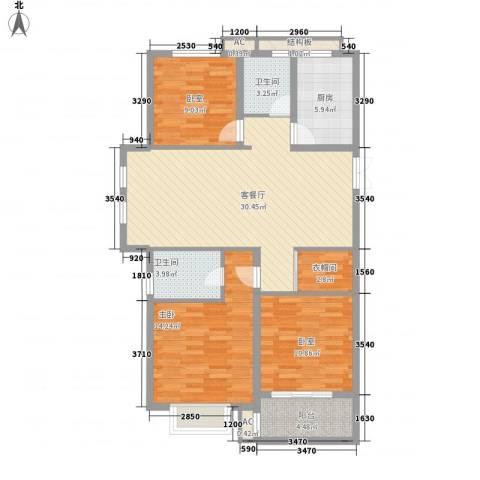 天逸城1室1厅2卫1厨124.00㎡户型图