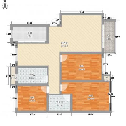 华丰星城3室0厅2卫1厨125.00㎡户型图