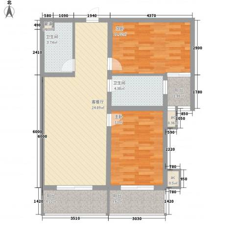 北辰广场2室1厅2卫0厨95.00㎡户型图