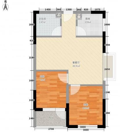 新蓝湾2室1厅1卫1厨67.00㎡户型图