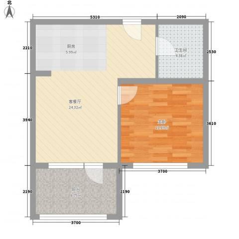 王仔假日1室1厅1卫0厨67.00㎡户型图