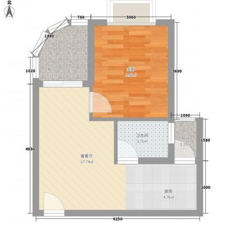 傲景观澜九龙湾国际温泉花园1室1厅1卫0厨51.00㎡户型图