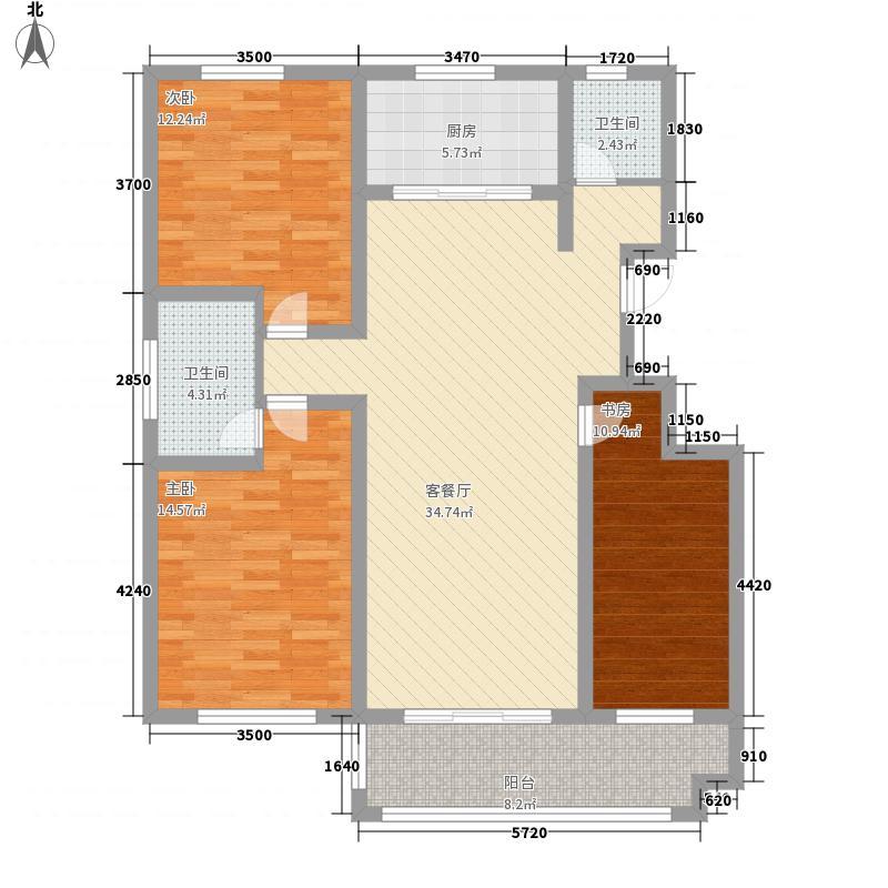 贵和美景华庭134.10㎡洋房A户型3室2厅2卫1厨