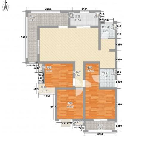 城置御水华庭3室1厅2卫1厨125.00㎡户型图