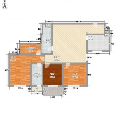 银亿徐汇酩悦3室1厅2卫1厨145.00㎡户型图