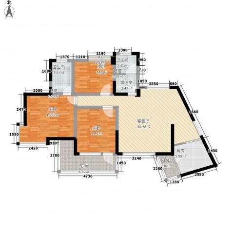 翰林雅居3室1厅2卫1厨129.00㎡户型图