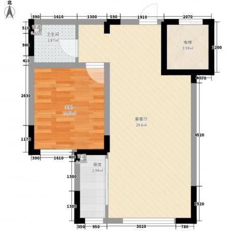力旺格林春天1室1厅1卫1厨66.00㎡户型图