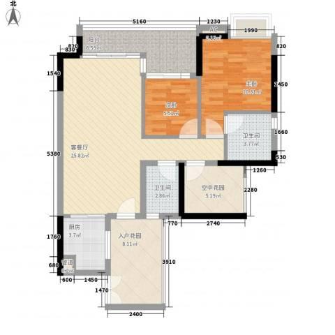 中海锦榕湾2室1厅2卫1厨107.00㎡户型图