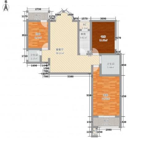 金鼎海云湾3室1厅2卫1厨126.00㎡户型图