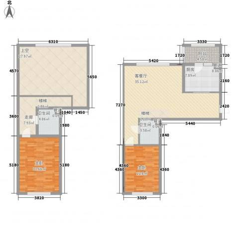 富佳新天地2室1厅2卫1厨121.00㎡户型图