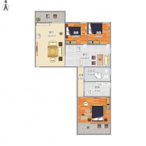 钻石苑3室2厅1卫1厨110.00㎡户型图
