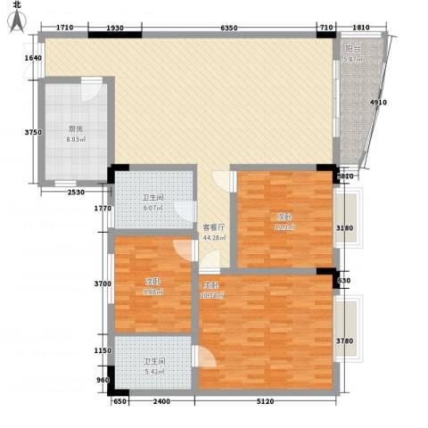 星河传说聚星岛A区3室1厅2卫1厨157.00㎡户型图