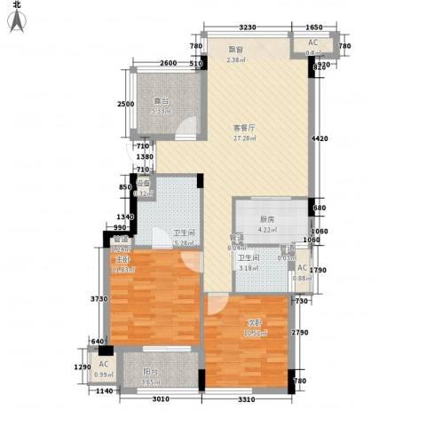 水岸瑶琳2室1厅2卫1厨108.00㎡户型图