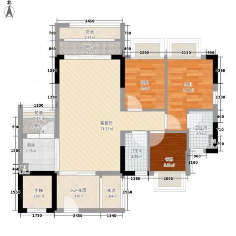 东海国际花园3室1厅2卫1厨90.00㎡户型图