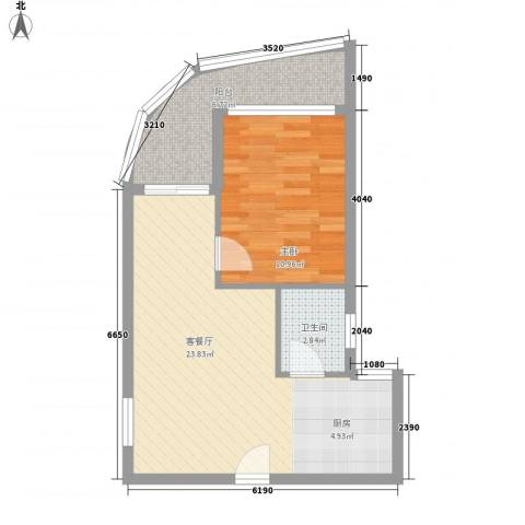 傲景观澜九龙湾国际温泉花园1室1厅1卫0厨63.00㎡户型图