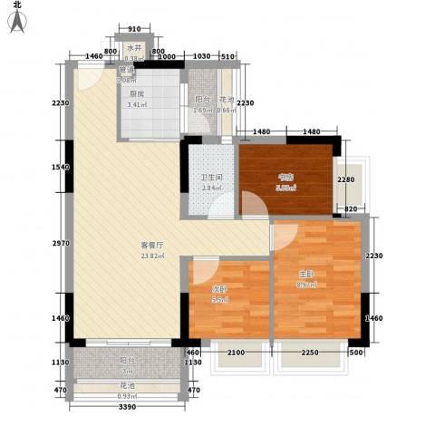 东海国际花园3室1厅1卫1厨84.00㎡户型图