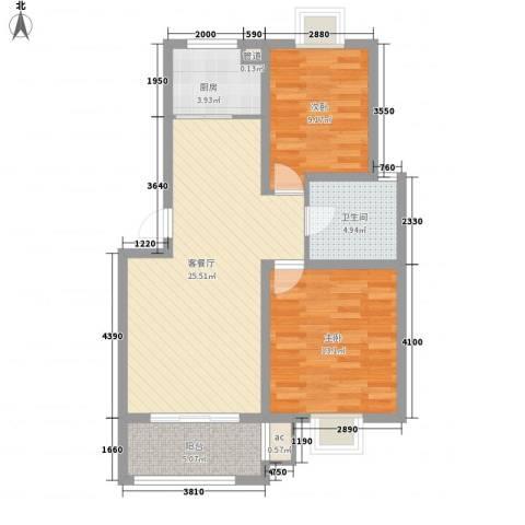 榕侨翡翠湾2室1厅1卫1厨90.00㎡户型图