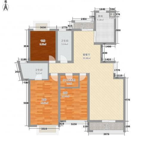 翠微品墅3室1厅2卫1厨141.00㎡户型图