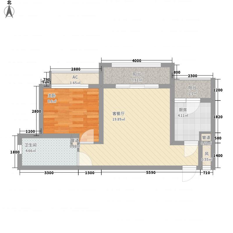 合肥合作经济广场59.34㎡2#2-A5户型1室1厅1卫1厨