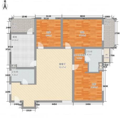 银亿徐汇酩悦3室1厅2卫1厨142.00㎡户型图