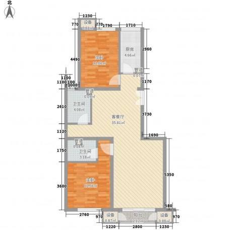 金隅凤麟洲2室1厅2卫1厨108.00㎡户型图