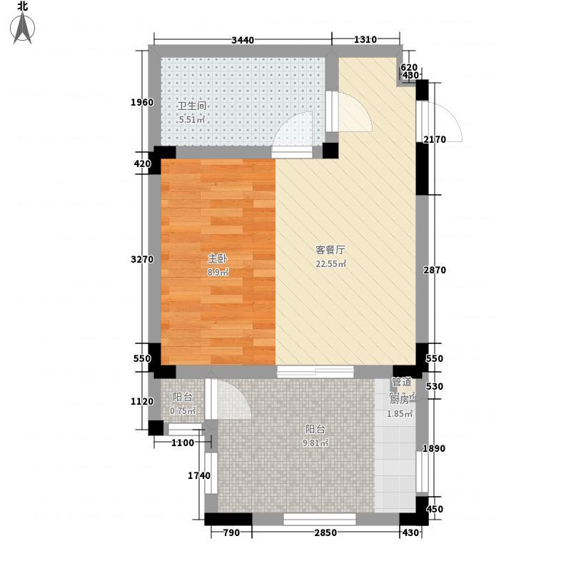 隆鑫花漾的山谷三期8号楼标准层F1户型1室1厅1卫1厨