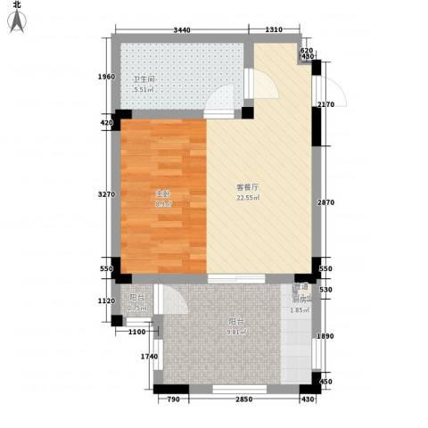 隆鑫花漾的山谷三期1厅1卫0厨56.00㎡户型图